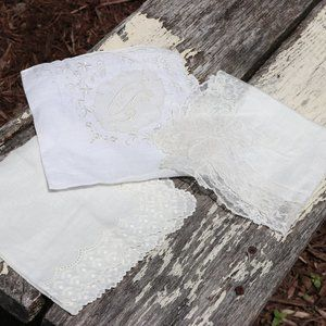 Vintage 1960s White Lace Wedding Handkerchiefs